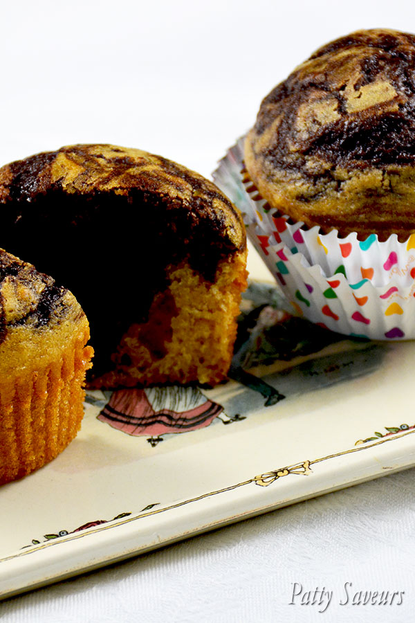 Chocolate and Peanut Butter Marbled Muffins
